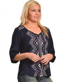 Tantrums Women's Hi-Lo Embroidered Lace Shirt