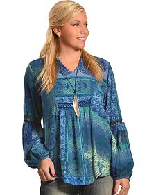 Tantrums Women's Teal Patch Print Crochet Tunic