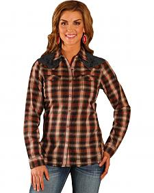 Wrangler Women's Lace Yoke Plaid Shirt