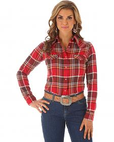 Wrangler Women's Red & Brown Plaid Flannel Shirt