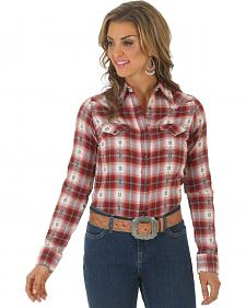 Wrangler Women's Dobby Plaid Flannel Shirt