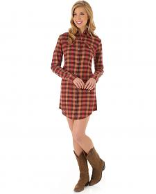 Wrangler Women's Rust Plaid Shirt Dress