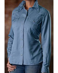Ryan Michael Women's Cadet Blue Performance Western Shirt
