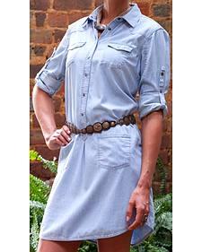 Ryan Michael Women's Cotton Silk Chambray Shirt Dress