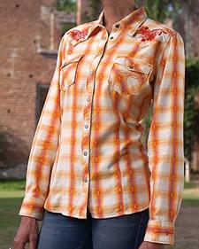 Ryan Michael Women's Rope Stitch Plaid Shirt