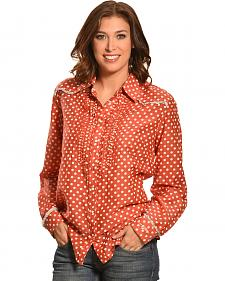 Ryan Michael Women's Ruffled Polka Dot Shirt