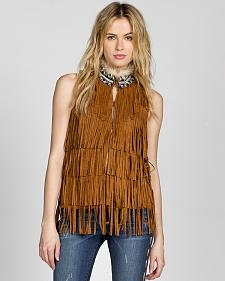 MM Vintage by Miss Me Fringe Beaded Mock Neck Vest