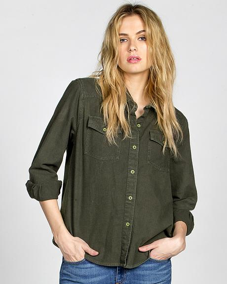Miss Me Vintage Women's Olive Embroidered Button Front Top