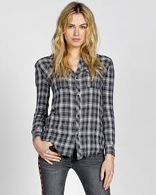 MM Vintage by Miss Me Women?s Embroidered Plaid Long Sleeve Shirt