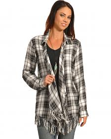 New Direction Women's Black Plaid Fringe Cardigan