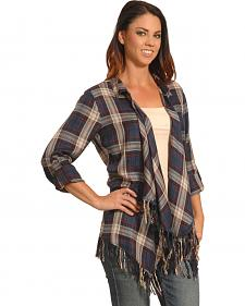 New Direction Women's Blue Plaid Fringe Cardigan