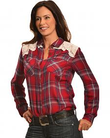 New Direction Sport Women's Red Plaid Lace Western Shirt