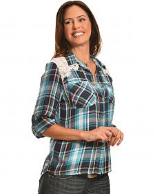 New Direction Sport Women's Blue Plaid Lace Western Shirt