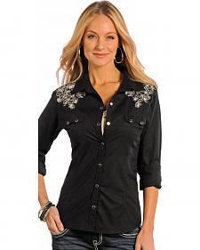 Panhandle Slim Women's Black Studded Vintage Western Shirt