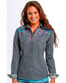 Rough Stock by Panhandle Slim  Slate GeoFloral Western Shirt