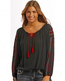 Panhandle Slim Red Label Black Crinkle Peasant Top