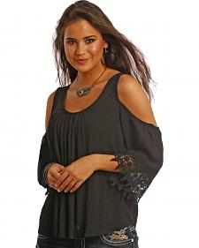 Panhandle Slim Black Cold Shoulder Crinkle Swing Top