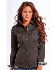 Rough Stock by Panhandle Slim Women's Black Scroll Snap Western Shirt