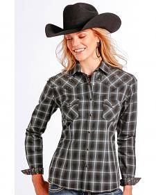 Rough Stock by Panhandle Slim Women's Vintage Lurex Plaid Western Shirt