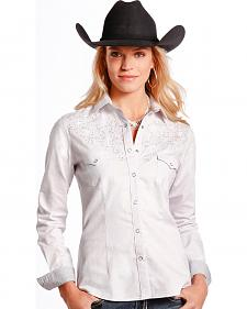 Rough Stock by Panhandle Slim Women's White Rhinestone Western Shirt