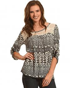 Panhandle Slim Women's Black Diamond Print Lace Peasant Top