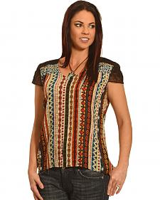 New Direction Sport Women's Lace Sleeve Print Shirt