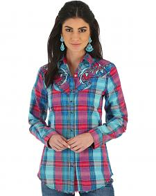 Wrangler Women's Rock 47 Embroidered Fancy Yokes Plaid Shirt