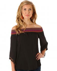 Wrangler Women's Black Off the Shoulder Top