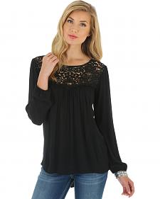 Wrangler Women's Black Crochet Trim Top