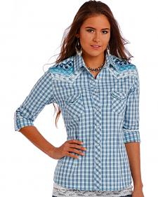 Panhandle Slim Women's Blue Rough Stock Whitney Vintage Dobby Ombre Plaid Shirt