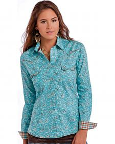 Panhandle Slim Women's Turquoise Rough Stock Ekalaka Vintage Print Shirt