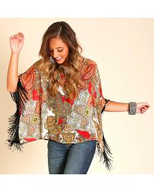 Wrangler Women's Kimono-Style Printed Top