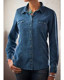 Ryan Michael Women's Indigo Saw Tooth Pocket Tencel Shirt
