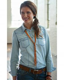 Ryan Michael Women's Chambray Pick Stitch Western Shirt