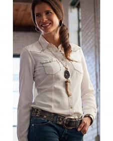 Ryan Michael Women's White Silk Whip Stitch Western Shirt
