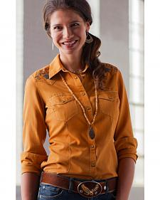 Ryan Michael Women's Applique Silk Western Shirt