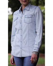 Ryan Michael Women's Chambray Bleach Denim Pick Stitch Shirt