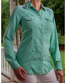 Ryan Michael Women's Sea Green Indigo Applique Shirt