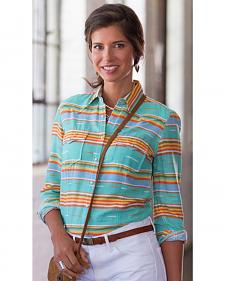 Ryan Michael Women's Seafoam Serape Stripe Shirt