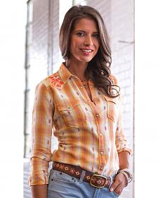 Ryan Michael Women's Ombre Dobby Plaid Western Shirt