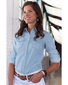 Ryan Michael Women's Embroidered Indigo Shirt