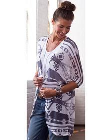 Ryan Michael Women's Iron Grey Aztec Shawl Sweater
