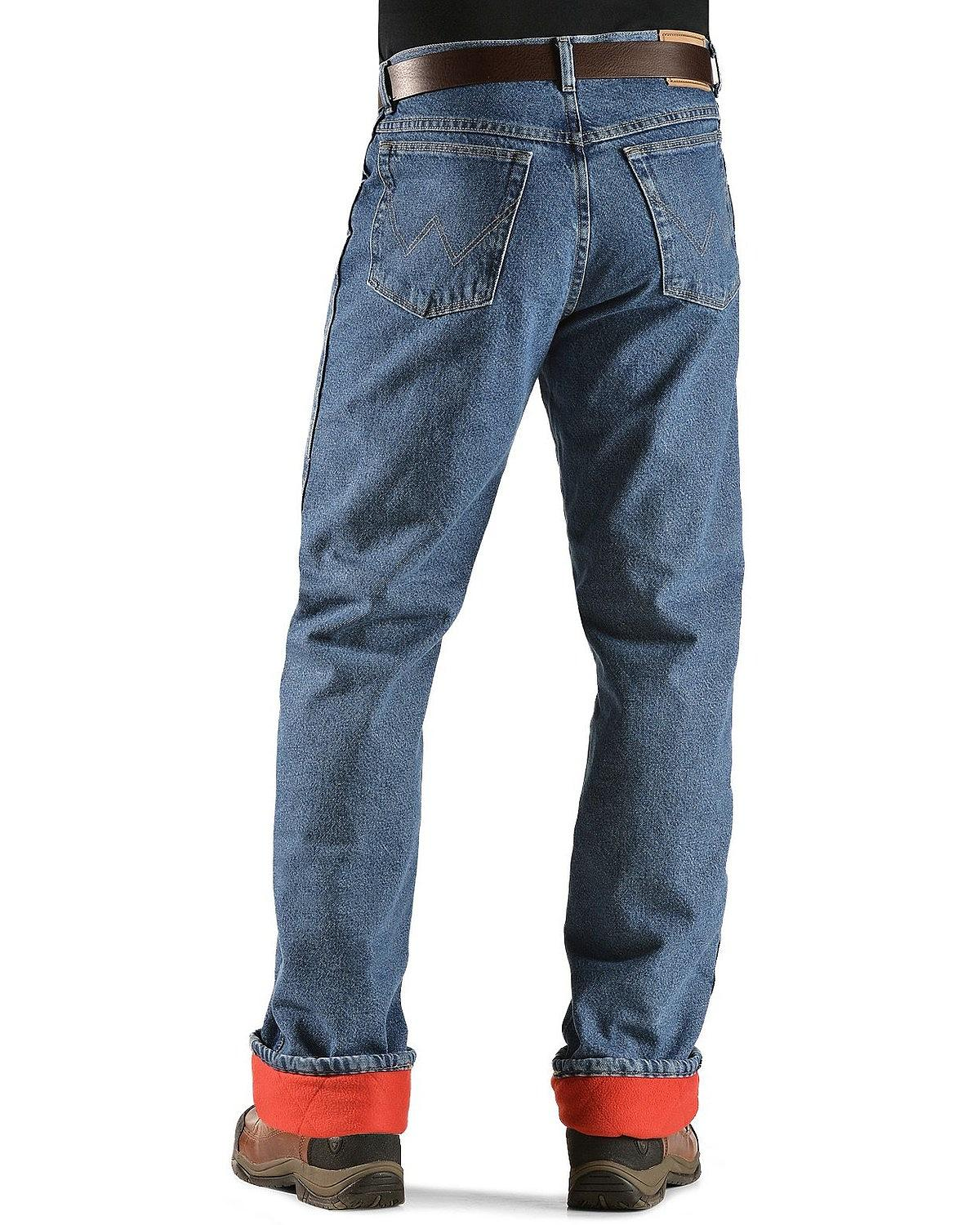 Image Is Loading Wrangler Jeans Rugged Wear Relaxed Fit Flannel Lined