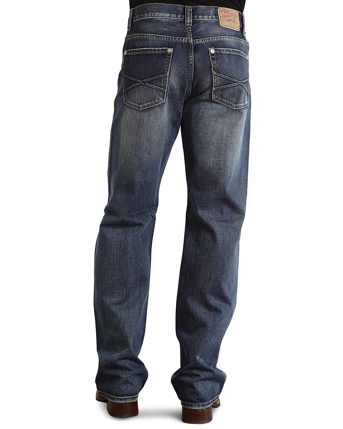 Stetson Modern Fit Embossed  X  Stitched Jeans - Big and Tall Med Wash