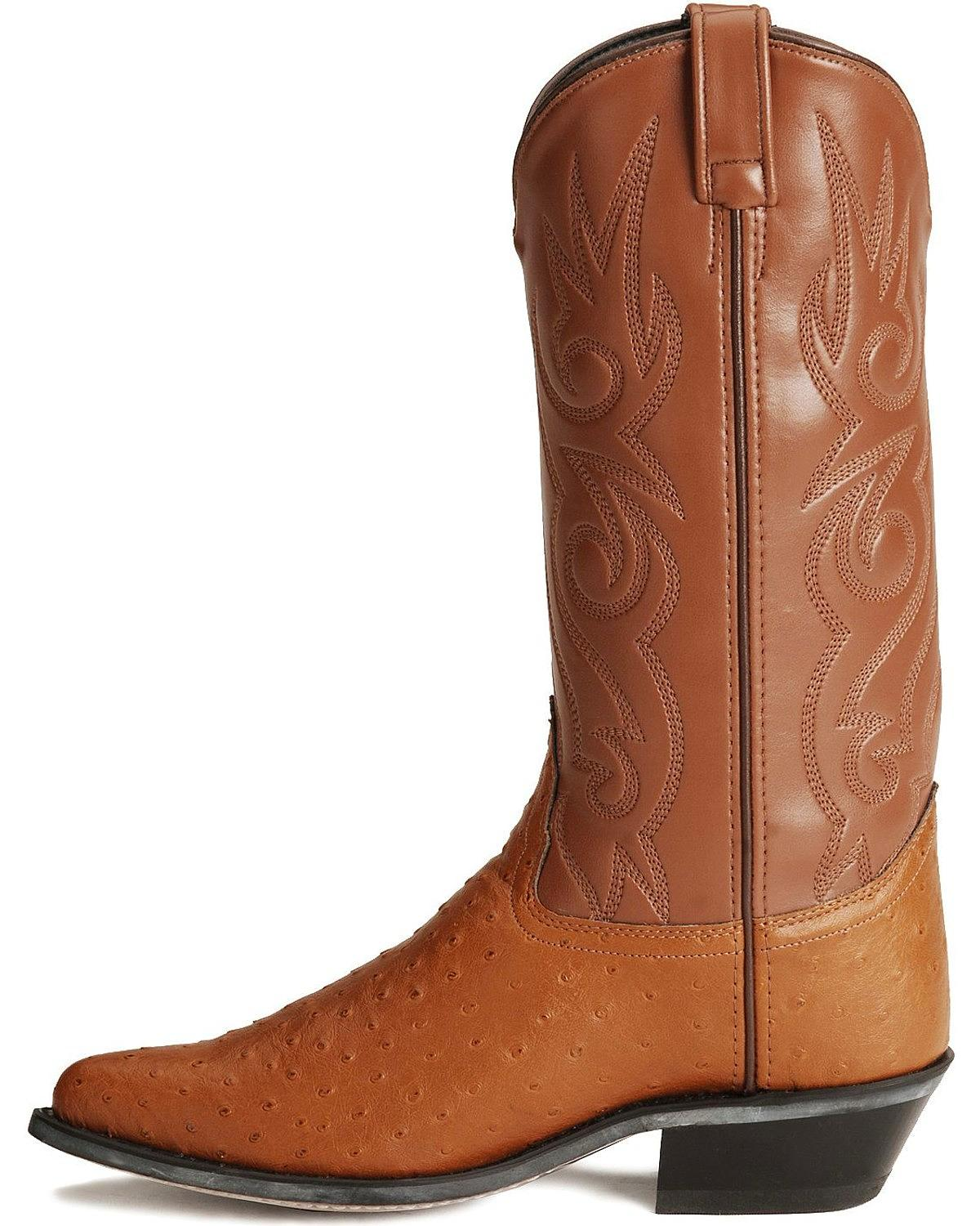 Old West Men's Fancy Stitched Ostrich Print Cowboy Boot