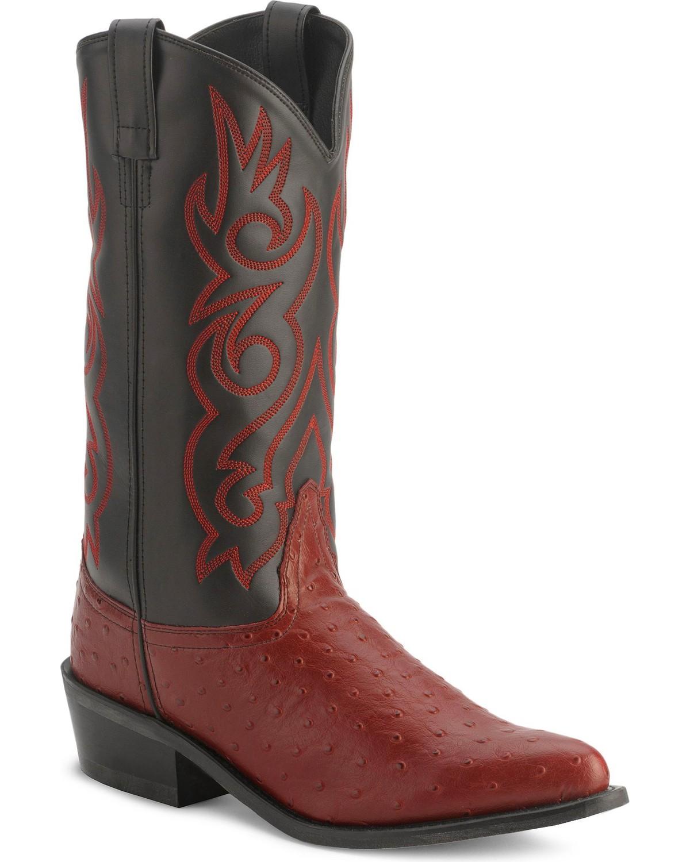 Old West Men's Fancy Stitched Ostrich Print Cowboy Boot