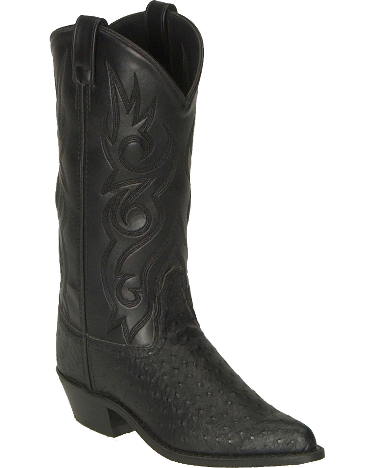 Old West Fancy Stitched Ostrich Print Cowboy Boot