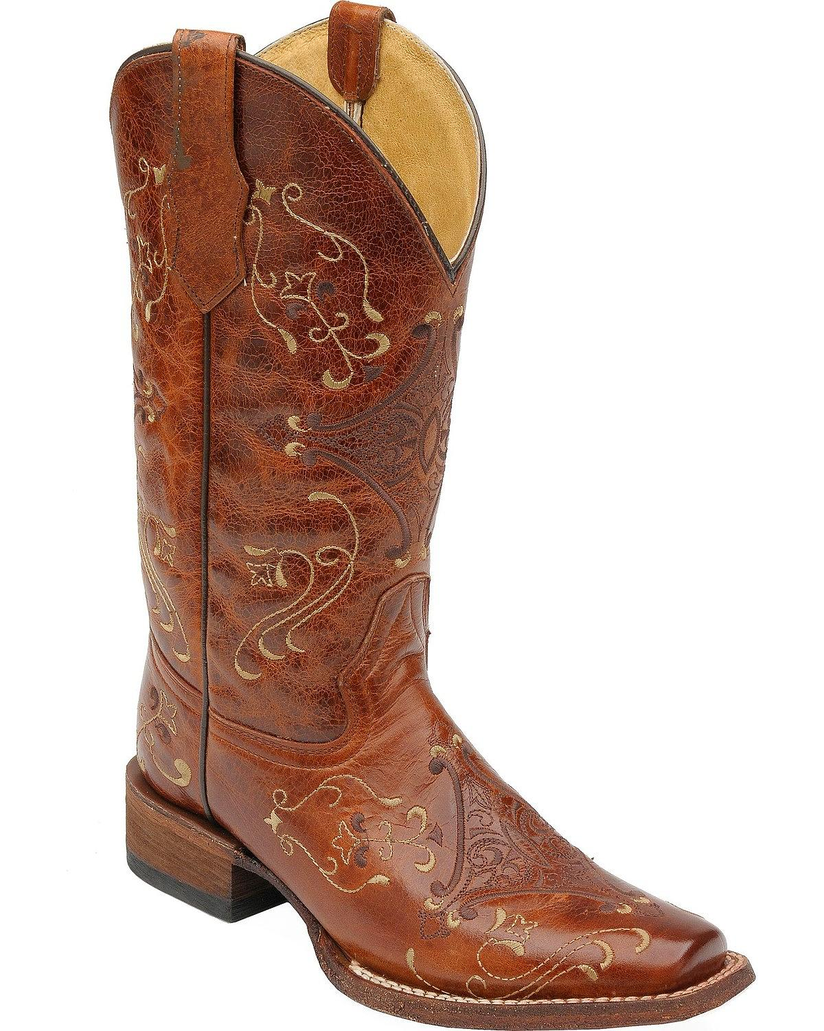 Circle G Women's Diamond Embroidered Cowgirl Boot Square