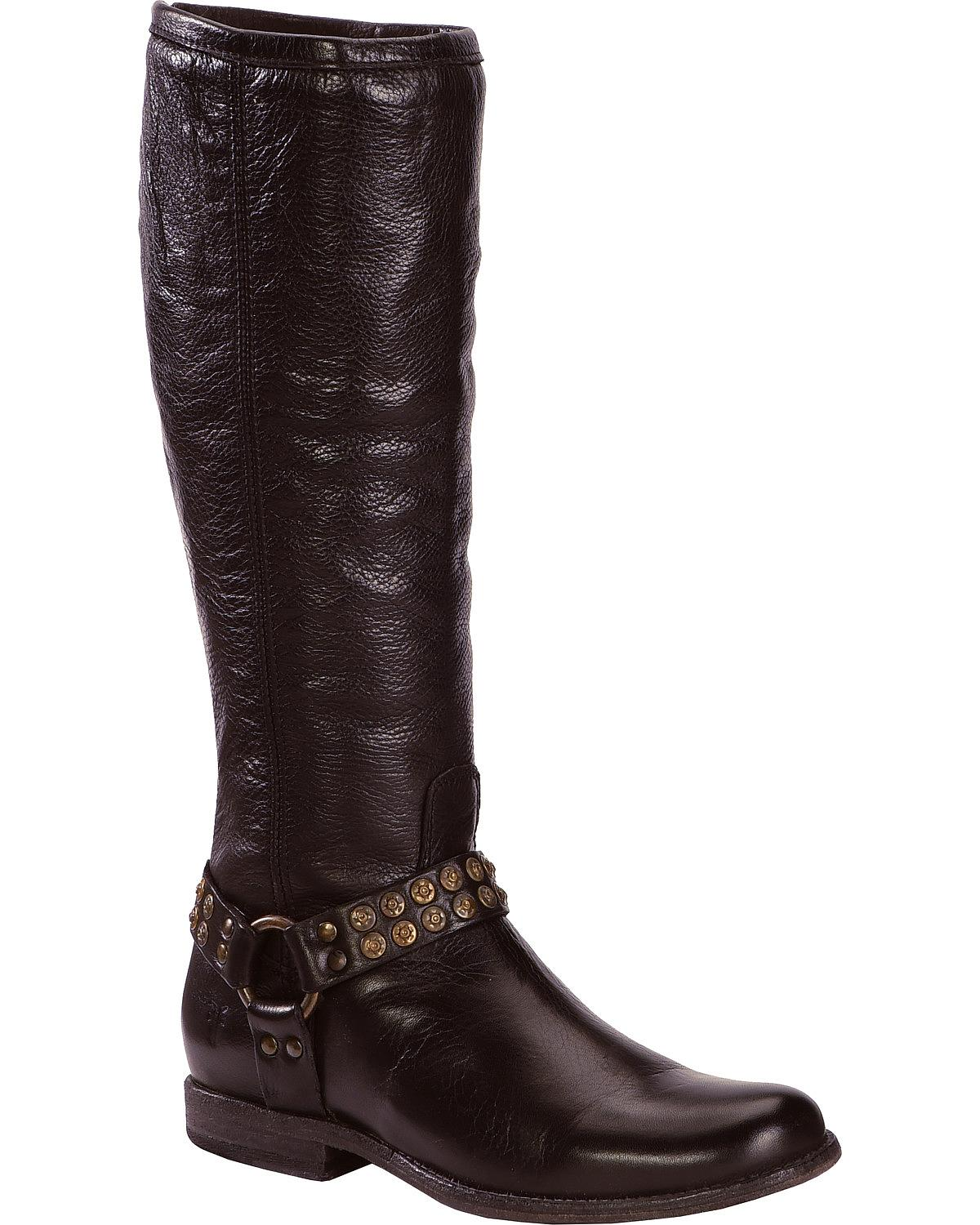 Frye Phillip Studded Harness Tall Round Toe Leather Knee High Boot ...
