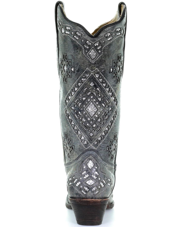 Corral Glitter Inlay Cowgirl Boot Snip Toe A2963 Ebay